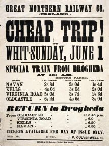 Cheap Trip Whit Sunday.  Irish Railway Art Timetable Poster, Drogheda Ireland.  Great Northern Railway Company